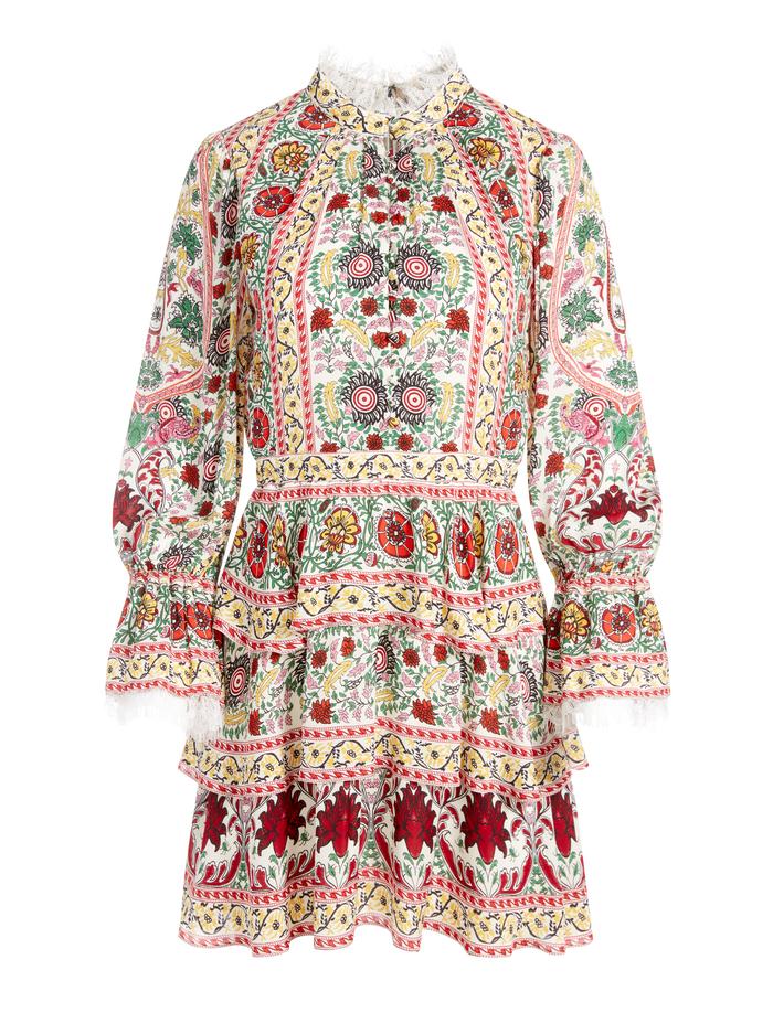 LAWSON MOCK NECK FLORAL MINI DRESS - FLOWER POT ECRU MULTI - Alice And Olivia