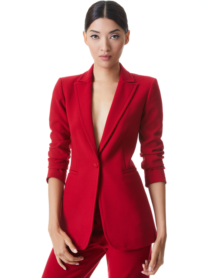 BREANN LONG FITTED BLAZER - DEEP RUBY - Alice And Olivia