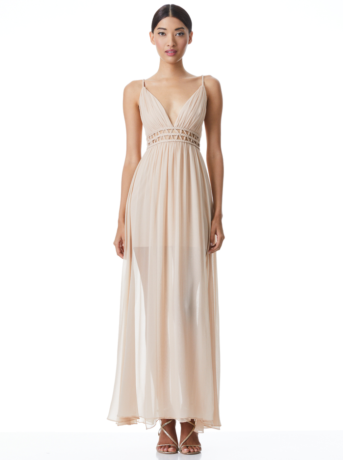RYA CUT OUT MAXI DRESS - ALMOND - Alice And Olivia
