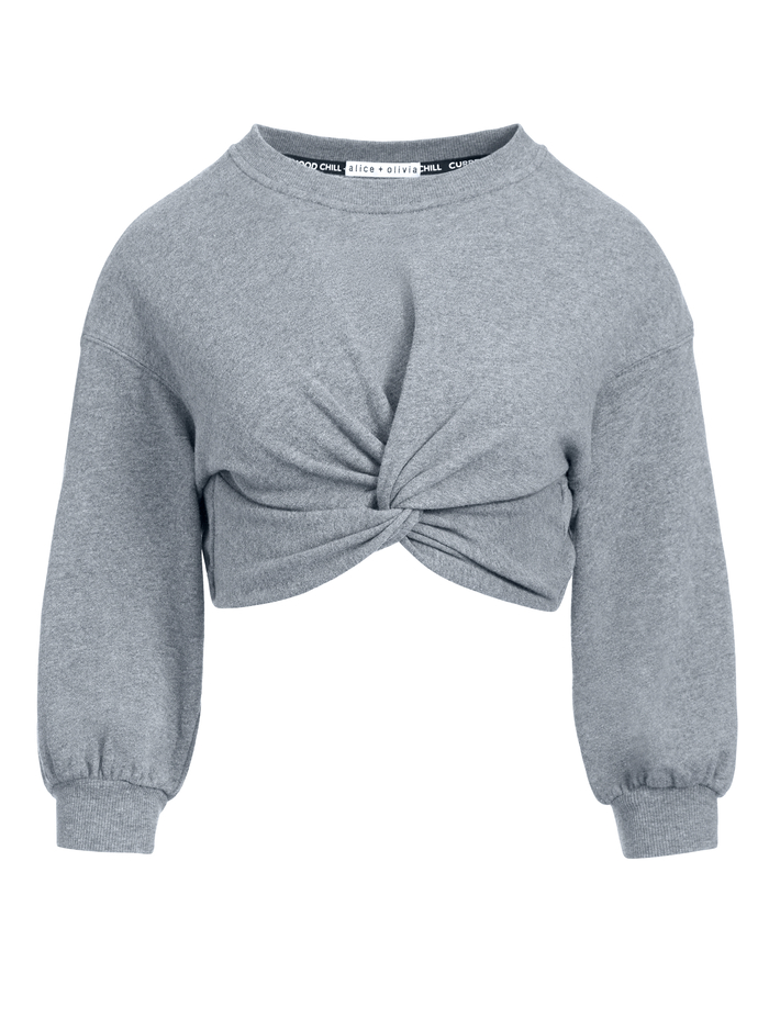 MARCELLE TWIST FRONT CROP TOP - CHARCOAL - Alice And Olivia