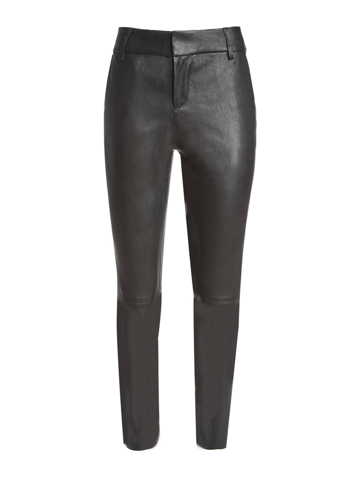 STACEY LEATHER SLIM TROUSER - BLACK - Alice And Olivia