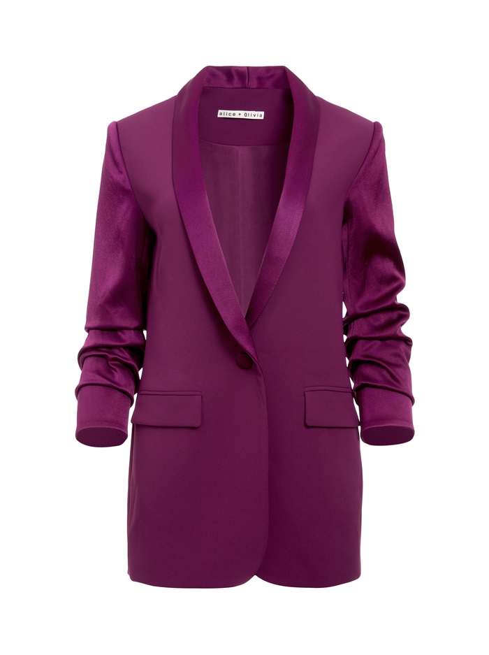 RONNIE SCRUNCHED SLEEVE BLAZER - BOYSENBERRY - Alice And Olivia
