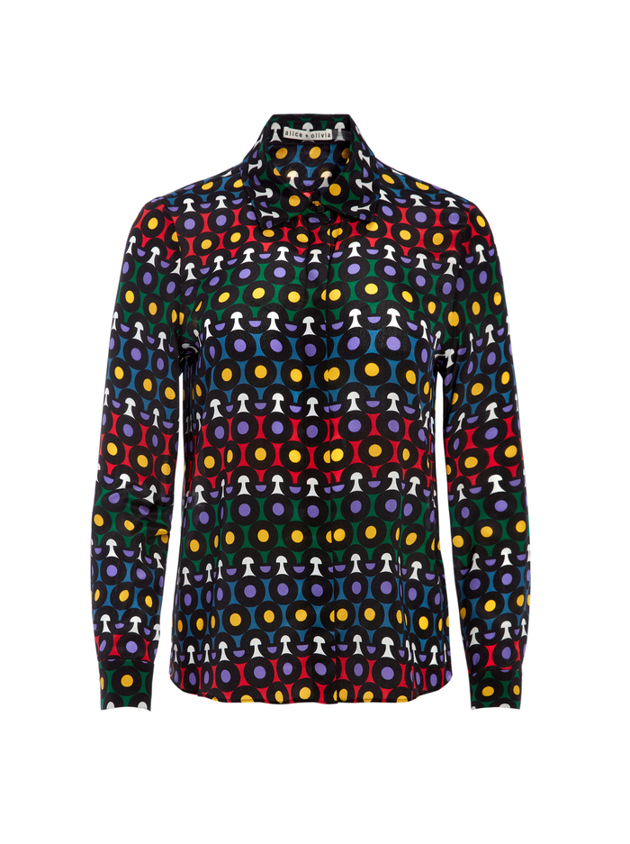 WILLA LARGE COLLAR PLACKET TOP - LARGE RAINBOW DOT - Alice And Olivia