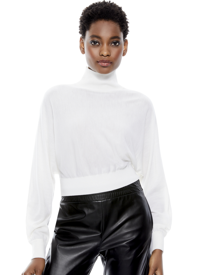 DIA CROPPED SWEATER - SOFT WHITE - Alice And Olivia