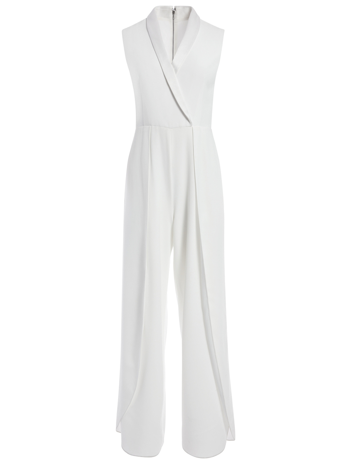 BEBE PLEATED SHAWL COLLAR JUMPSUIT - OFF WHITE - Alice And Olivia