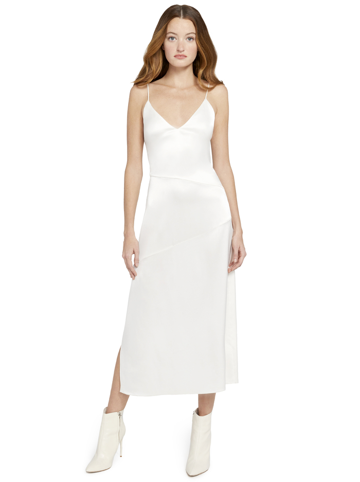 KAYLA SEAMED SLIP MIDI DRESS - OFF WHITE - Alice And Olivia
