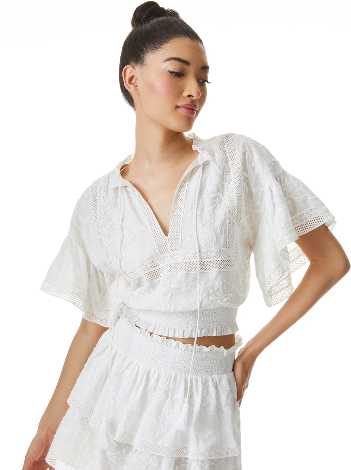 TABITHA EMBROIDERED CROP BLOUSE - OFF WHITE - Alice And Olivia
