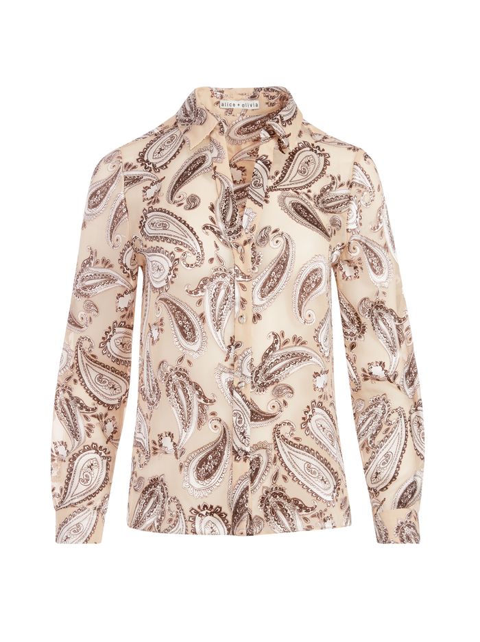 ELOISE BUTTON DOWN PAISLEY BLOUSE - DREAMLAND LG - Alice And Olivia