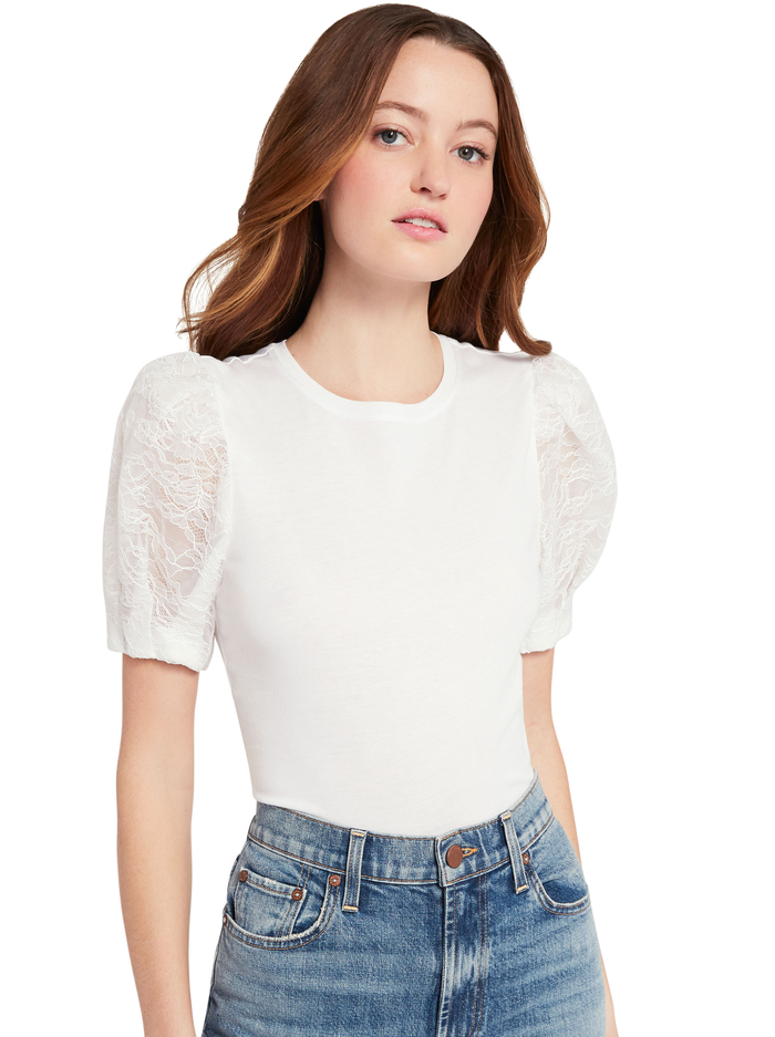 POSEY PUFF SLEEVE TEE - WHITE - Alice And Olivia