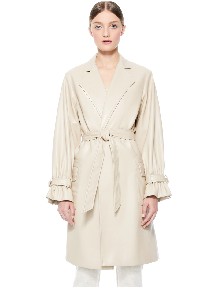 GITANA VEGAN LEATHER TRENCH COAT - SEPIA - Alice And Olivia