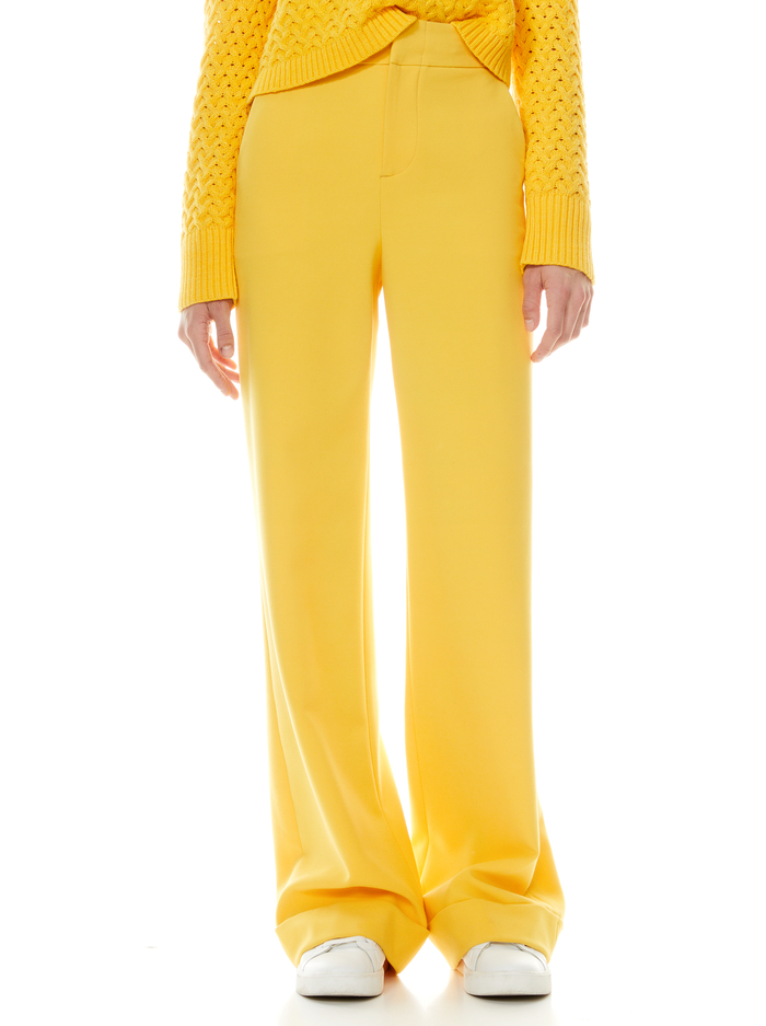 DYLAN HIGH WAISTED WIDE LEG PANT - GOLDEN ROD - Alice And Olivia