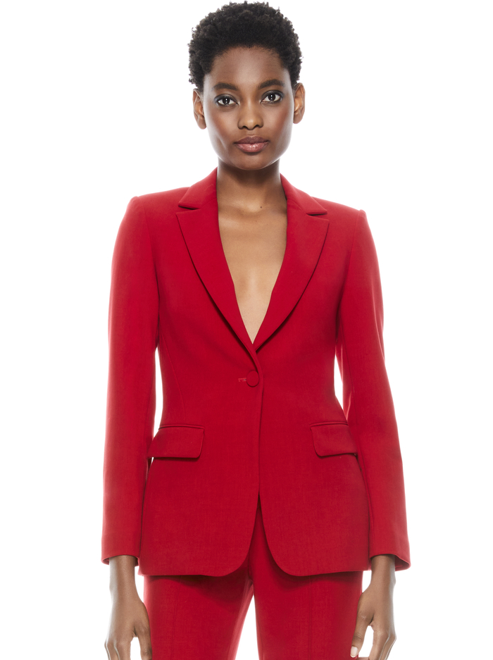 MACEY NOTCH COLLAR FITTED BLAZER - RUBY - Alice And Olivia