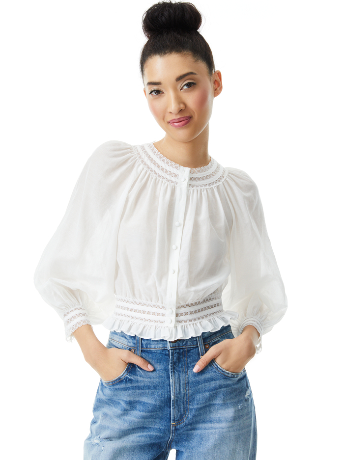 CHERELLE BUTTON FRONT BLOUSE - OFF WHITE - Alice And Olivia