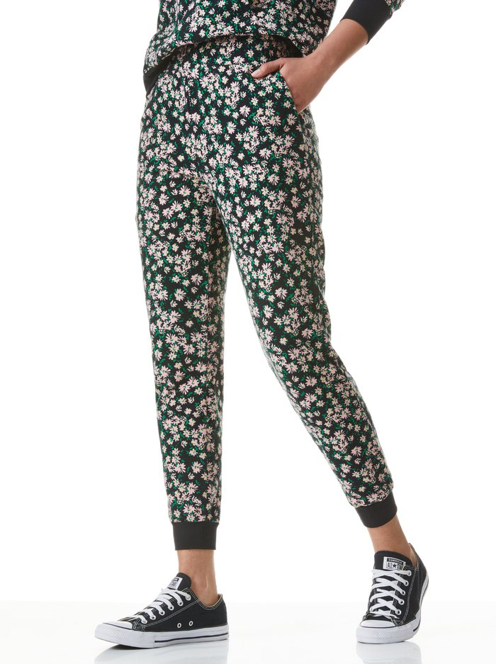 NYC FLORAL SLIM JOGGER - MONTEREY DITSY BLACK - Alice And Olivia