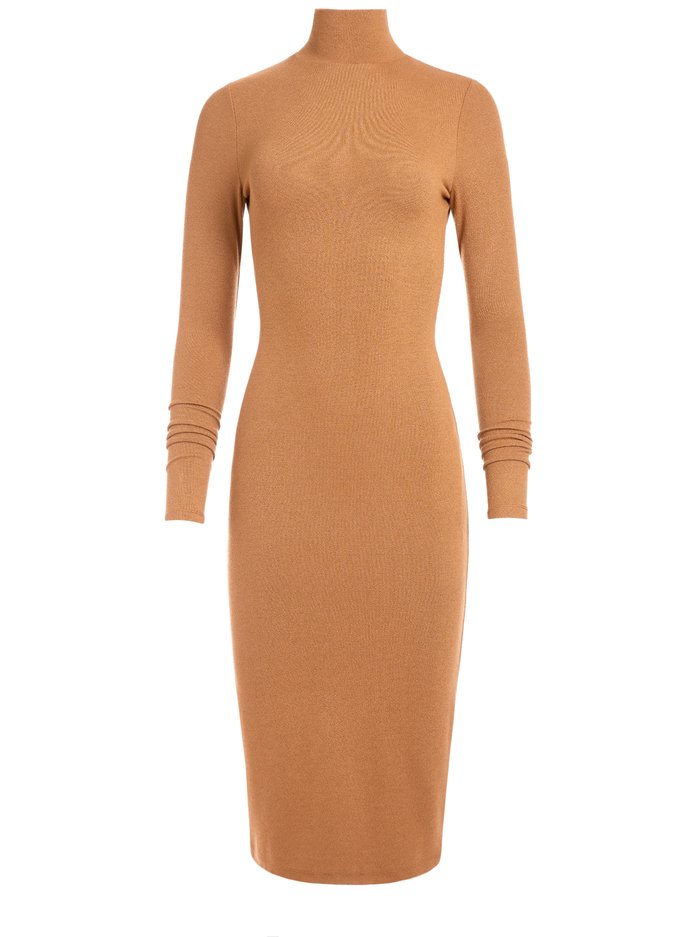 DELORA TURTLENECK DRESS - CAMEL - Alice And Olivia