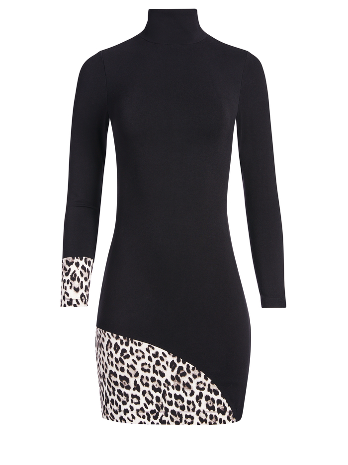 DELORA TURTLENECK MINI DRESS - BLACK COMBO - Alice And Olivia