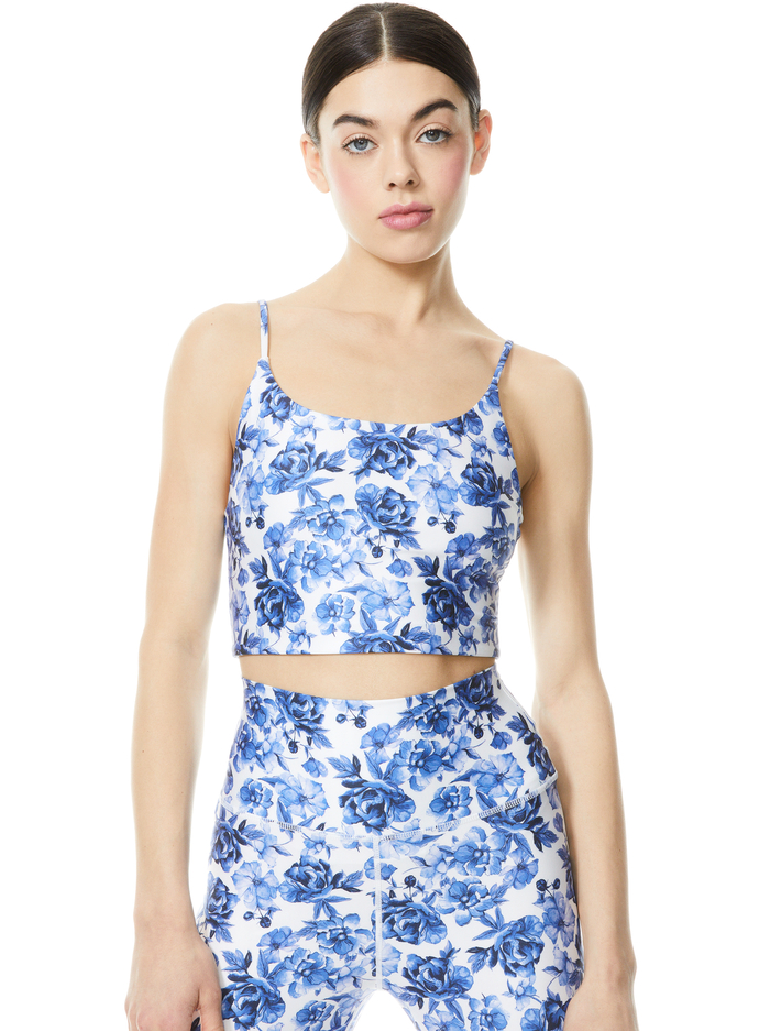 PENNY SCOOP NECK CROP TOP - FORGET ME NOT LG ANTIQUE WHITE - Alice And Olivia