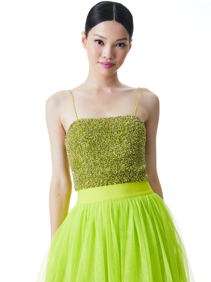 CERESI SEQUIN CROP TOP - LIME PUNCH - Alice And Olivia