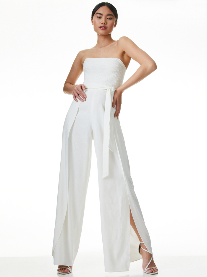 BEBE STRAPLESS JUMPSUIT - OFF WHITE - Alice And Olivia