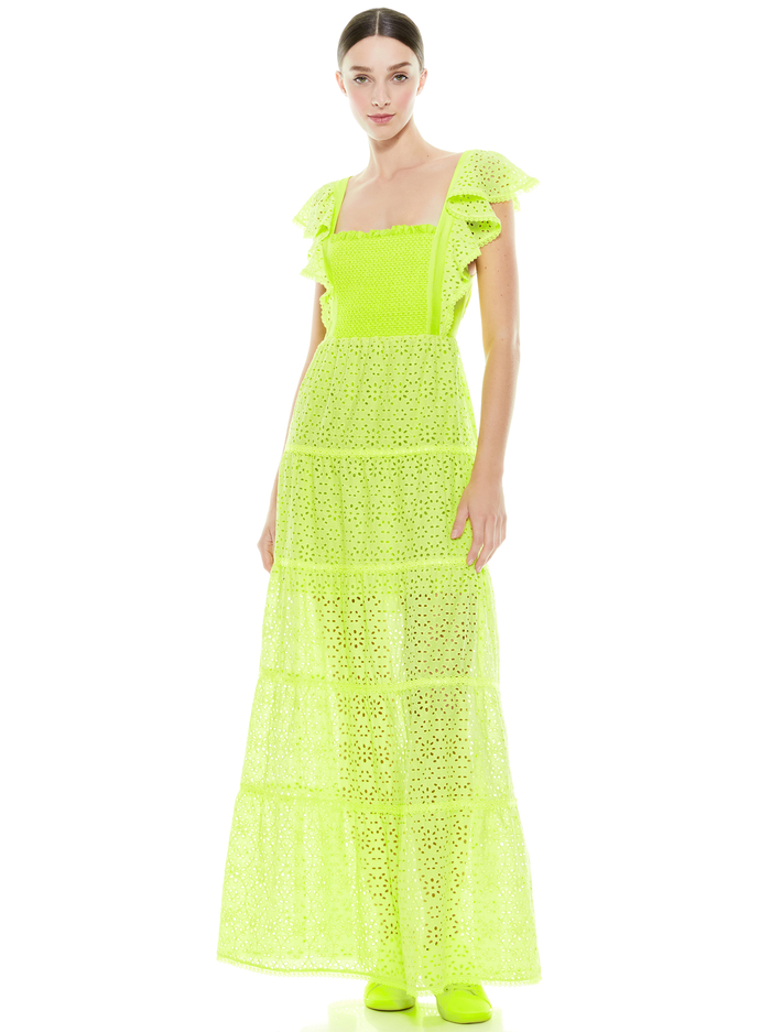 JULES TIE BACK MAXI DRESS - NEON KEYLIME - Alice And Olivia