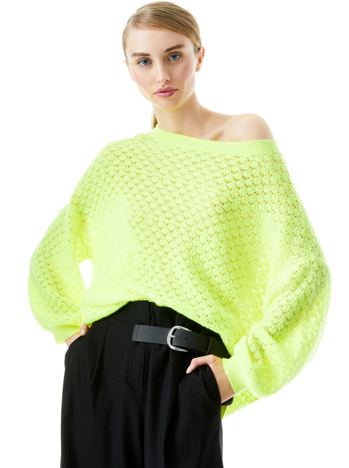 SAFFI POINTELLE PULLOVER - NEON KEYLIME - Alice And Olivia