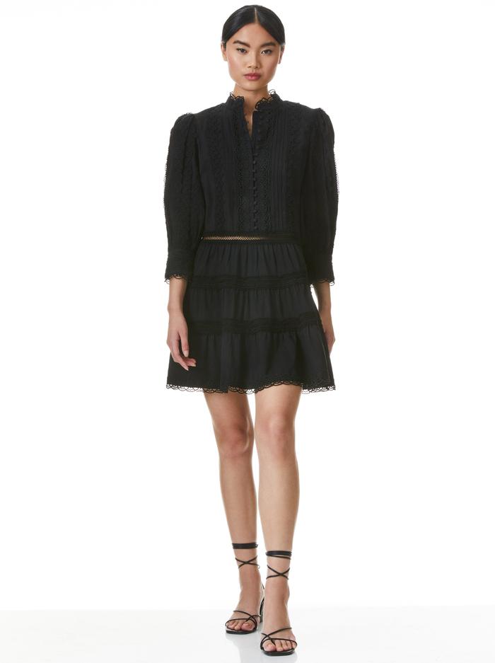 CLARK MANDARIN COLLAR MINI DRESS - BLACK - Alice And Olivia
