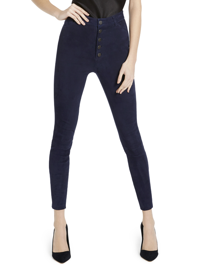 MIKAH SUEDE HGHRSE BTNFRNT PNT - NAVY - Alice And Olivia