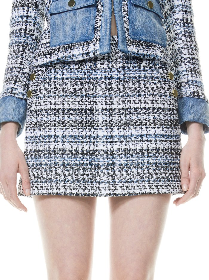 DONALD SIDE BUTTON MINI SKIRT - BLUE EYES/MULTI - Alice And Olivia