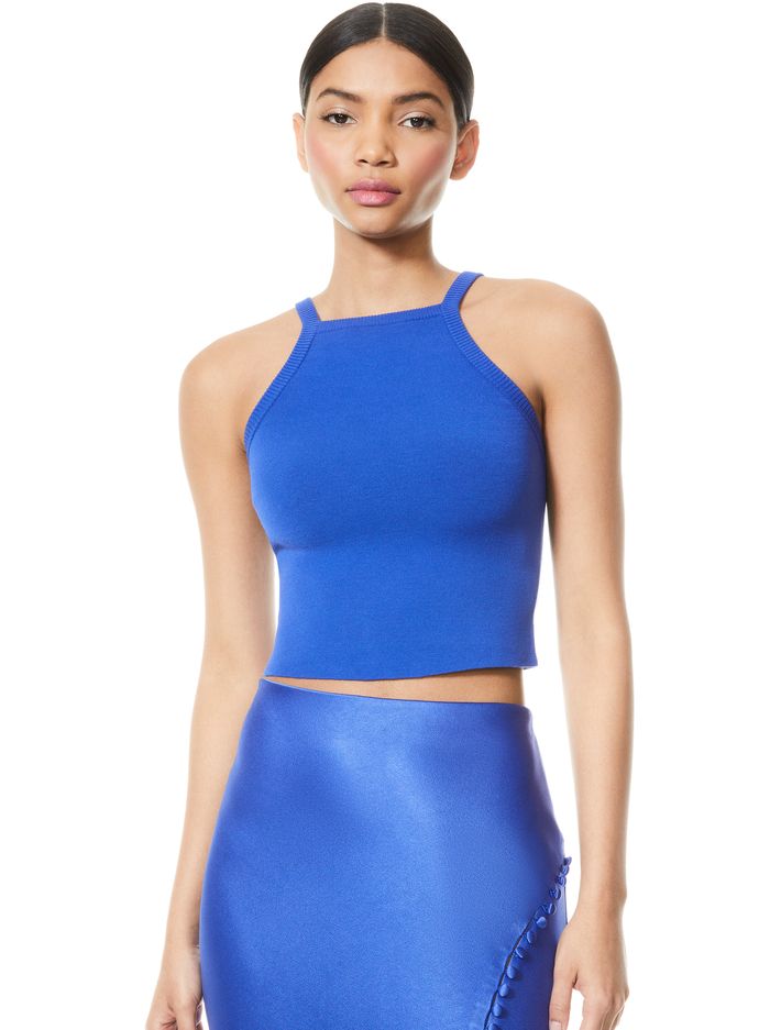 CABOT HIGH NECK TOP - COBALT - Alice And Olivia