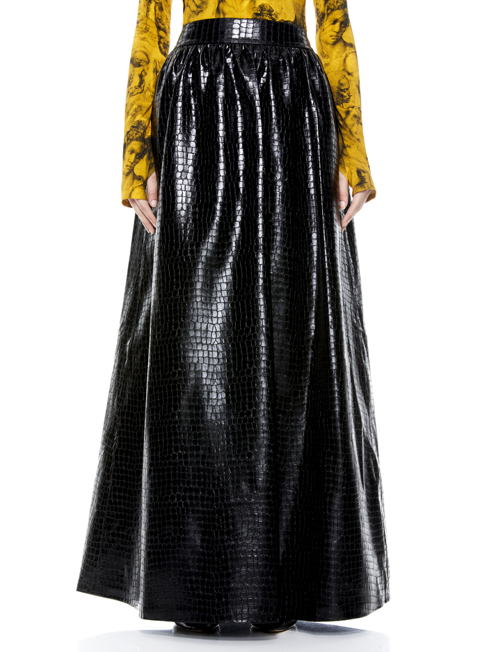 TINA VEGAN LEATHER GOWN SKIRT - BLACK - Alice And Olivia