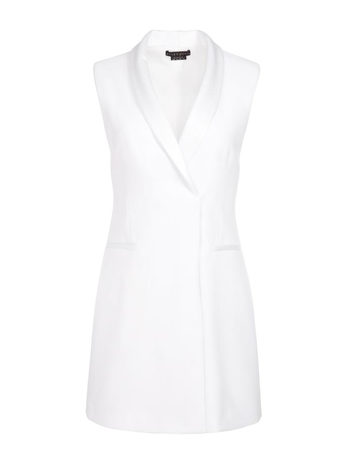 VALENTINA TUXEDO MINI DRESS - WHITE - Alice And Olivia