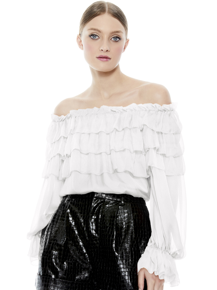 ERSA OFF THE SHOULDER BLOUSE - OFF WHITE - Alice And Olivia