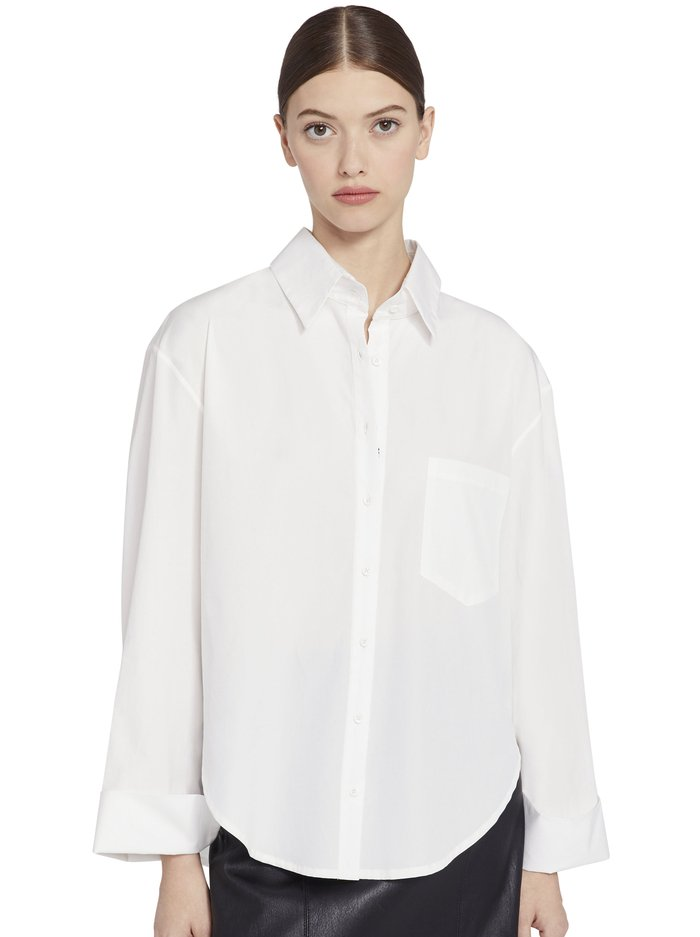 FINELY OVERSIZED BUTTON DOWN - OFF WHITE - Alice And Olivia