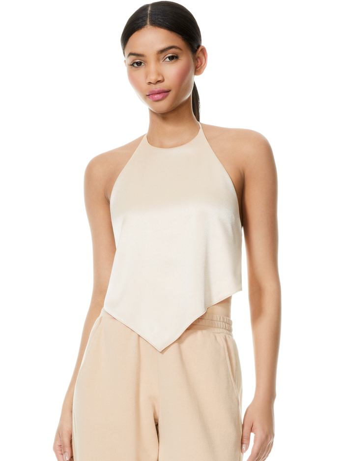 FRENCHIE HANDKERCHIEF HALTER TOP - ALMOND - Alice And Olivia