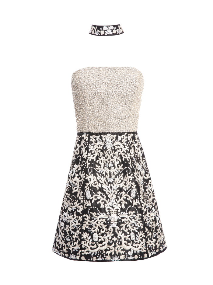 PAIGE CRYSTAL GOWN WITH CHOKER - BLK/SILVER - Alice And Olivia