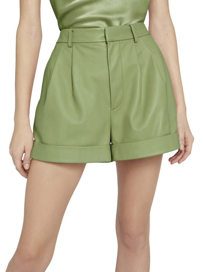 CONRY LEATHER PLEATED SHORTS - SAGE - Alice And Olivia