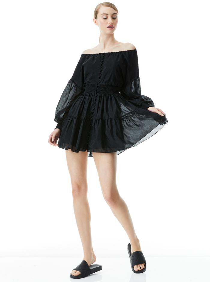 KIARA BUTTON FRONT MINI DRESS - BLACK - Alice And Olivia