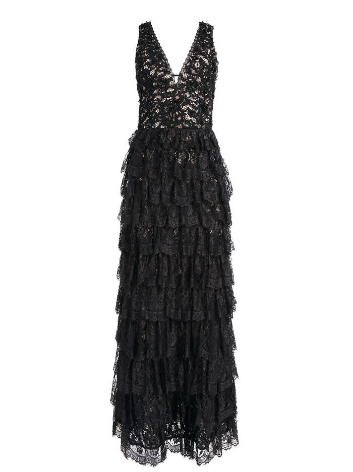 DEVORA TIERED LACE GOWN - BLACK - Alice And Olivia
