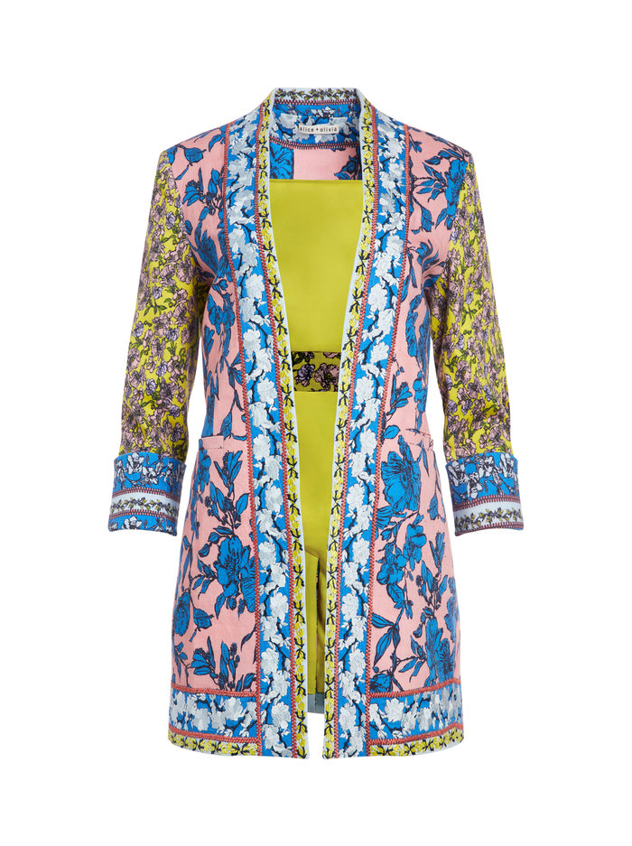 SIMPSON EMBROIDERED BLAZER - DITSY BORDER - Alice And Olivia