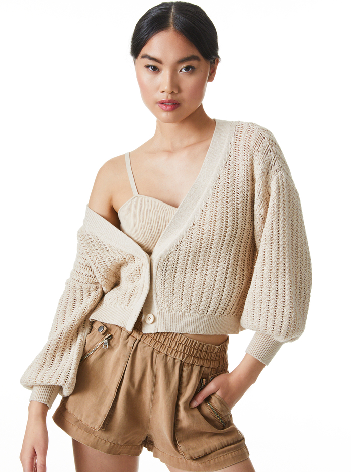 WINSOR SLOUCHY CARDIGAN - SAND - Alice And Olivia