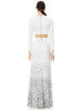 HOUSTON OMBRE SEQUIN GOWN SKIRT - OFF WHITE/MULTI
