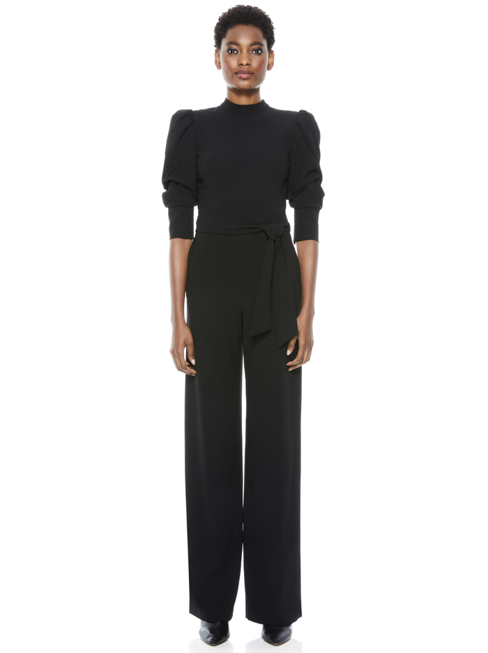 ALEXIS TIE WAIST JUMPSUIT - BLACK - Alice And Olivia