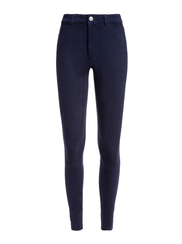 MIKAH SINGLE BUTTON SUEDE PANT - NAVY - Alice And Olivia