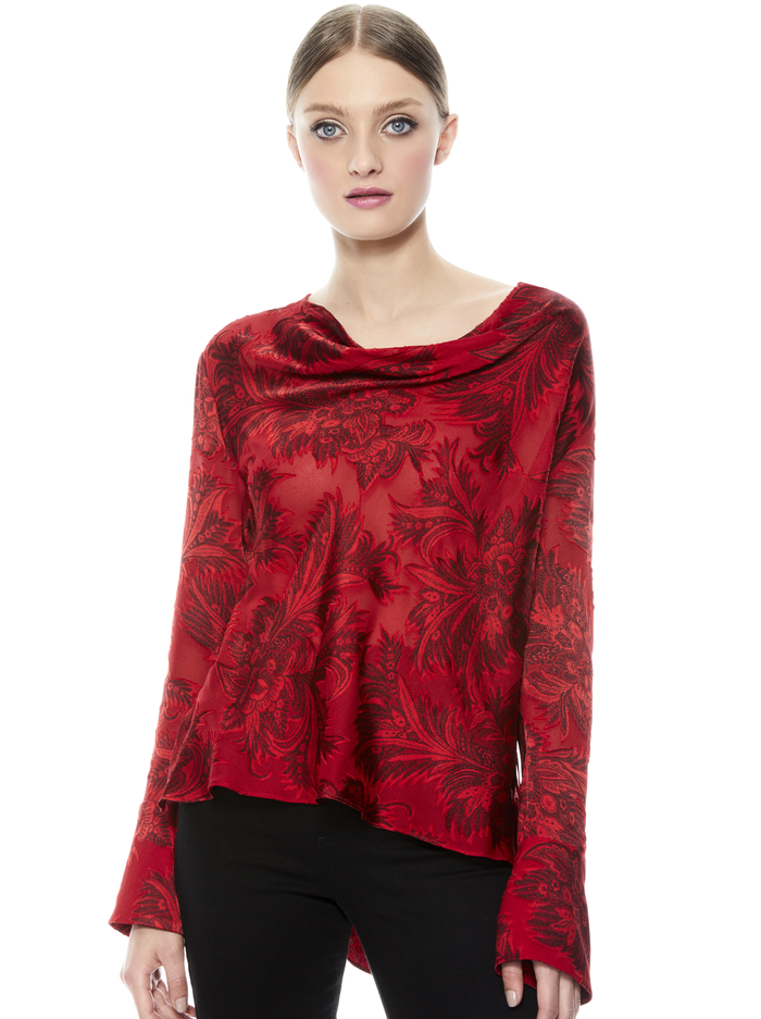 ANNA DRAPEY COLD SHOULDER SHIRT - RUBY - Alice And Olivia