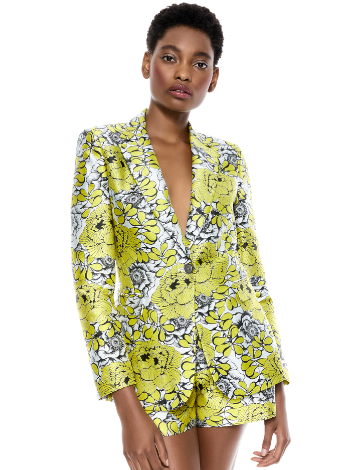 MACEY NOTCH COLLAR FITTED BLAZER - DAFFODIL/MULTI - Alice And Olivia