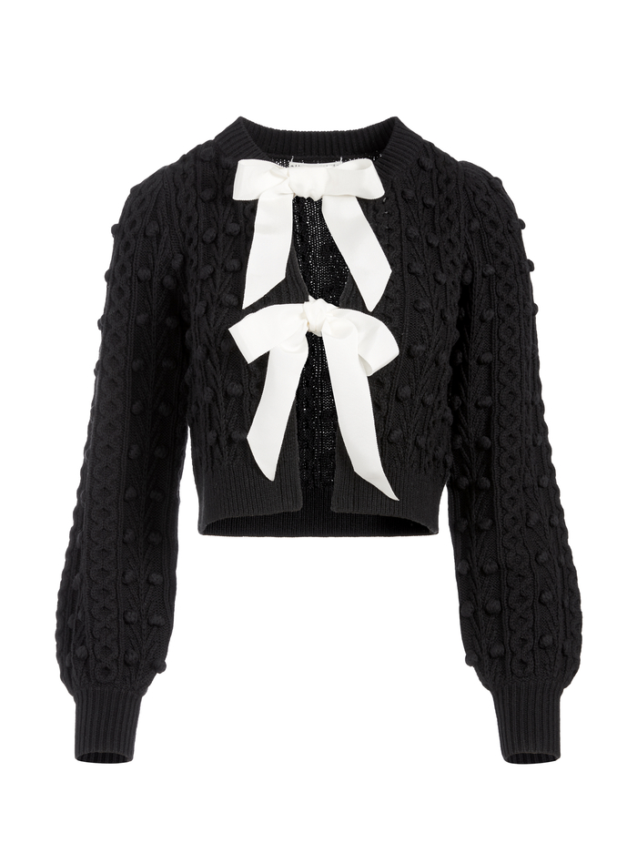 KITTY PUFF SLEEVE CARDIGAN - BLACK/SOFT WHITE - Alice And Olivia