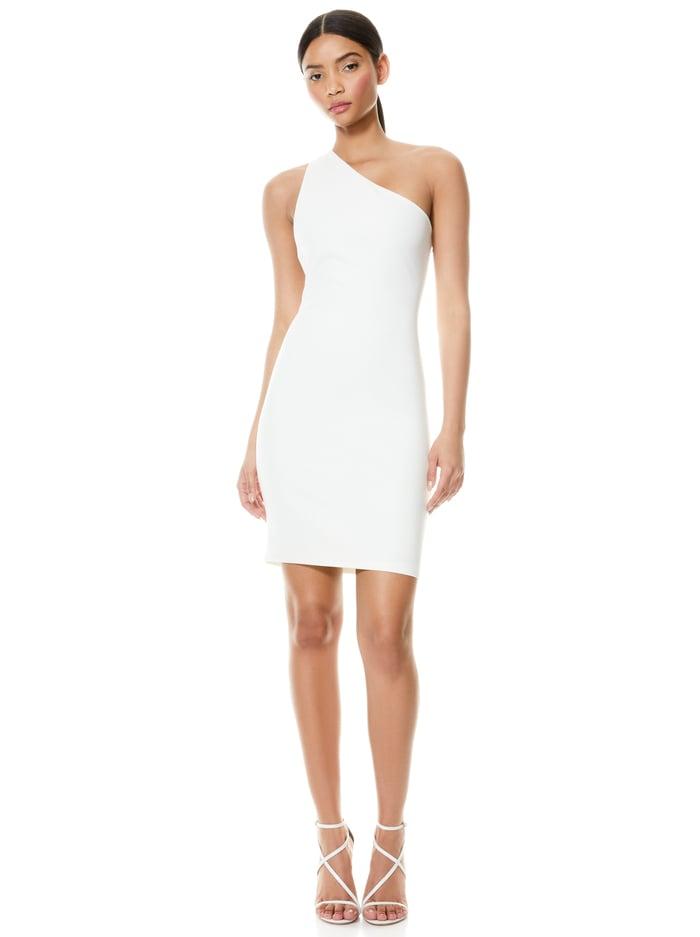ROSIA ONE SHOULDER MINI DRESS - OFF WHITE - Alice And Olivia