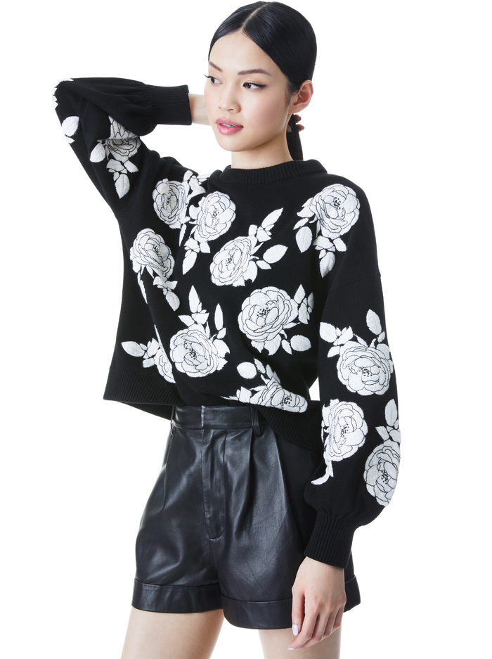 CARWEN EMBROIDERED PULLOVER - BLACK/WHITE - Alice And Olivia