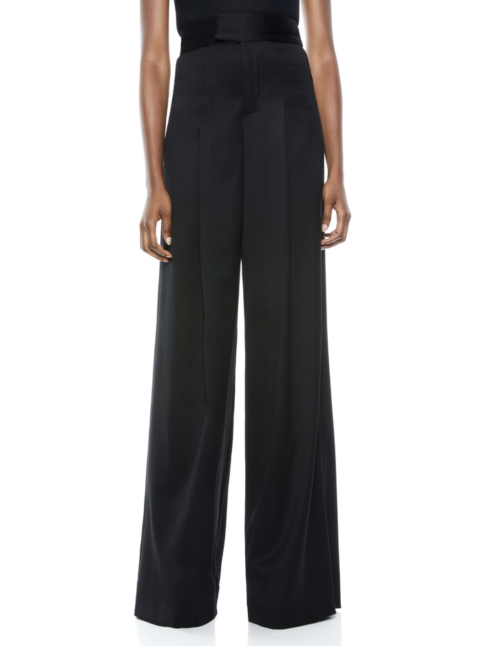 MERILYN HIGH WAISTED WIDE LEG PANT  - BLACK - Alice And Olivia