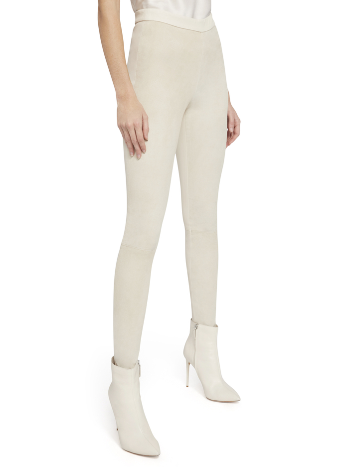 MADDOX BACK ZIP SUEDE LEGGING - TAUPE - Alice And Olivia
